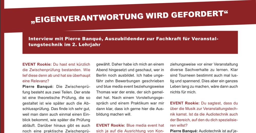 Interview Auszubildender Ausbildung blue media event GmbH